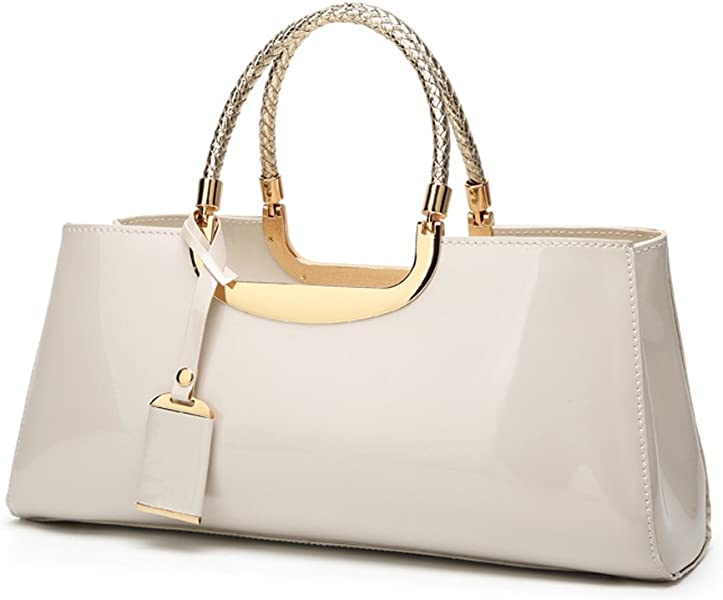 Glossy Faux Patent Leather Structured Shoulder Handbag Women Evening Party  Satchel (Beige) c5d2d0f9809b0