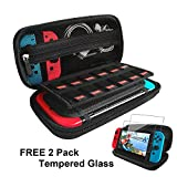 Nintendo Switch Case with 2 Pack Screen Protector, Built-in Stand iVoler Protective Portable Hard Shell Pouch Carry Traveler Game Bag for Nintendo Switch Console & Accessories holds 12 Game Cartridge