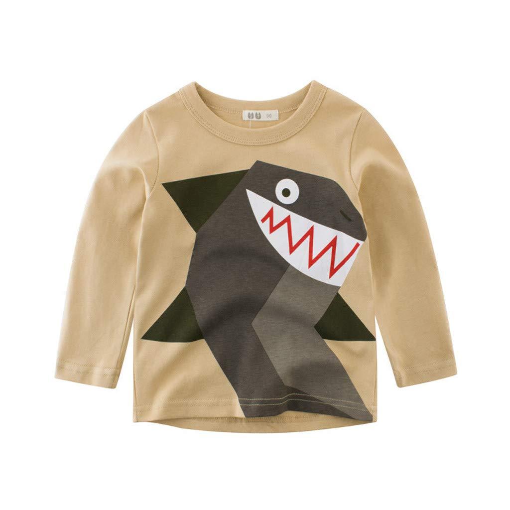 Kirbyates Todder Kids Baby Boy Solid Cartoon Animal Print Cotton Undershirt Bottoming T-Shirt Top Blouse