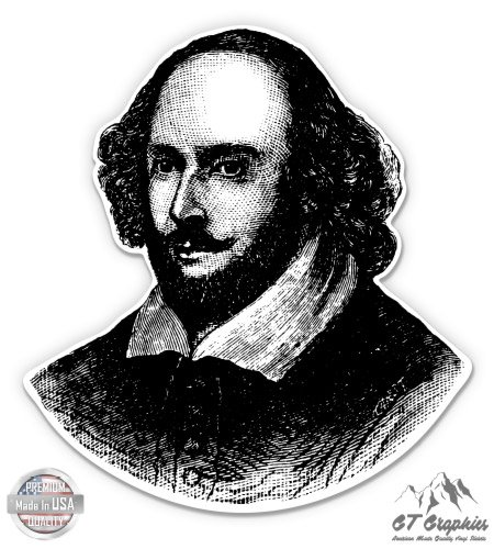 """GT Graphics Shakespeare Portrait - 5"""" Vinyl Sticker - For Car Laptop I-Pad - Waterproof Decal"""