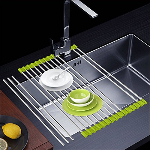 Ahyuan Roll-up Dish Drying Rack Over Sink Dishes Drainer Rack Multipurpose Stainless Steel Foldable Kitchen Rack Light Green