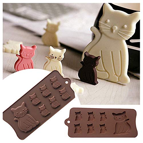 2-Pack Cat Chocolate Molds - MoldFun Cartoon Kitten Silicone Molds for Candy Jello Ice Cubes Mini Soap, Muffin Cookie Baking Tool