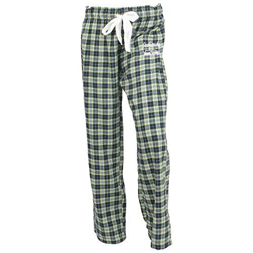 Lounge Womens Nfl Pants (Seattle Seahawks Women's Plaid Printed Flannel Lounge Pants (Medium))
