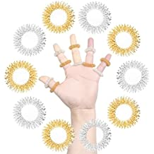 SUMAJU 10Pcs Acupressure Massage Rings, Chinese Medicine Sujok Pain Therapy Finger Circulation Rings (Golden and Silver) Mothers Day Gifts