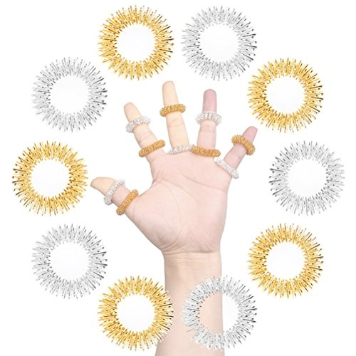 SUMAJU 10Pcs Acupressure Massage Rings-Chinese Medicine, Sujok Pain Therapy Finger Circulation Rings (Golden and Silver) (Acupressure Massage Therapy)