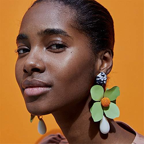 - Riceei Big Flower Bead Drop Stud Earrings for Women Fashion Statement Bohemian Beach Vintage Handmade Dangle & Chandelier Long Boho Exaggerate Earring Jewelry Gift Accessories - (1 Pair in Green)