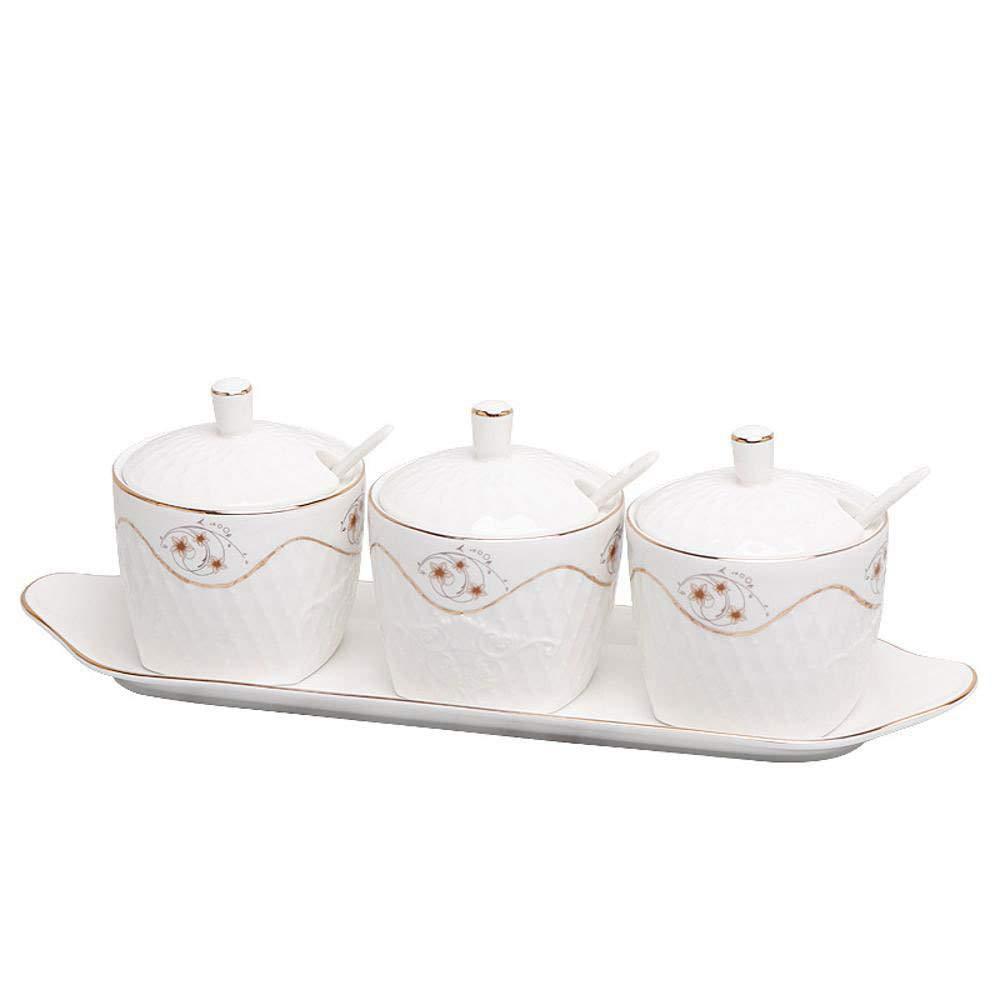 Yunfeng Seasoning Box,Kitchen Phnom Penh Ceramic Condiment Storage Container with Tray Three-Piece Set