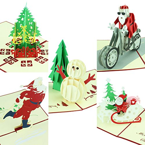 3D Christmas Greeting Cards Papercraft Cute Holiday Pop Up Cards Gifts for Xmas/New Year - 5 Cards & Envelopes
