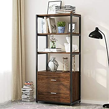 Tribesigns Bookcase with 2 Drawers, Vintage Industrial Etagere Standard Bookshelf in Rustic, Multiple 4 Tier Bookcases Storage Cabinet for Home Office Organizer