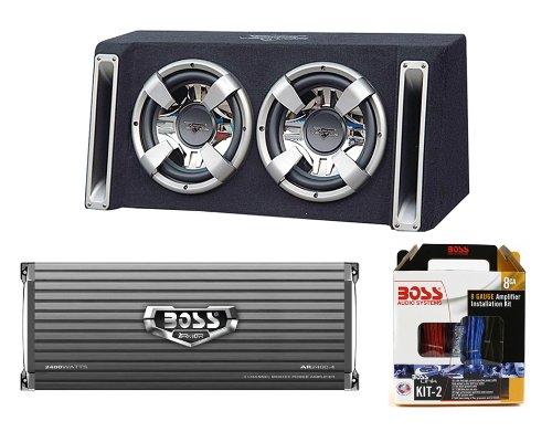 "Lanzar VCHB212 12"" 2400W Subwoofer + Dual Vented Sub Box + 2400W Amp + Amp Kit"
