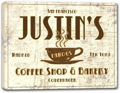 JUSTIN'S Coffee Shop & Bakery Gallery Wrapped Canvas Sign 3 SIZES AVAILABLE - 16