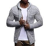 Realdo Mens Knitted Sweat Coat Clearance Sale, Fashion Men's Solid Stripe Jacket Long Sleeve Outwear Blouse(X-Large,Grey)