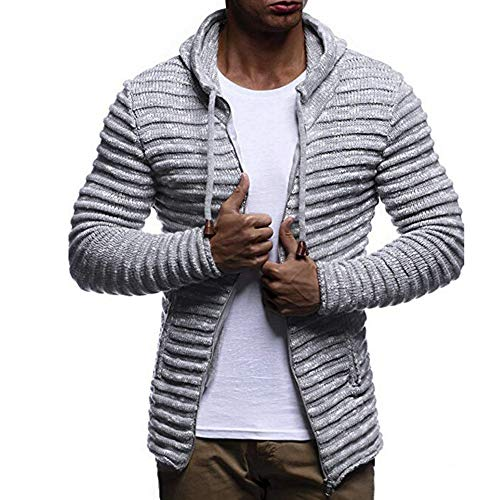 Easytoy Men's Knit Jacket Sweater with Hood Knitted Zip up Cardigan Hoodie (Gray, Asian Size: XXL)