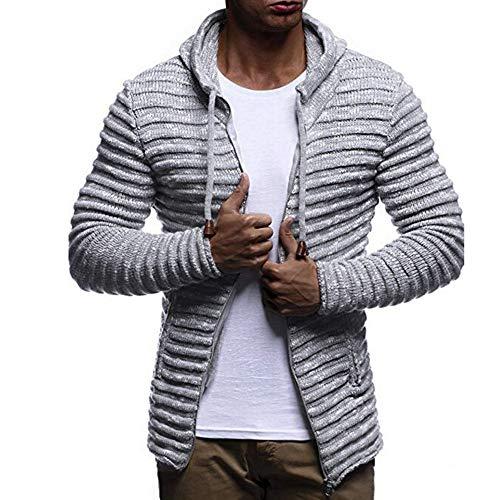 Knit Cardigan Hoodies for Men, Corriee Autumn Winter Solid Zip Knit Sweater Coat Mens Long Sleeve Stripe Jacket Outwear Gray