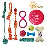 PetLike 10 Pack Dog Toy Gift Set, Puppy Chew Teething Chewing Playing Rope Toys, Ball Rope and Chew Squeaky Toys for Small and Medium Dogs. (10-Pack)