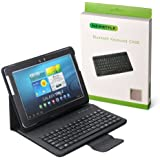 NEWSTYLE PU Leather Stand Case & Removable Bluetooth Keyboard for Samsung Galaxy Tab 10.1 & Samsung Galaxy Tab 2 10.1 Inch Tablet P5100 P7510 P7500 P5110 P5113 (Black)