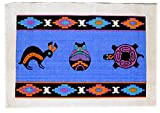 Unique & Custom {13 x 19'' Inch} Set Of 4 Rectangle Large Cotton Table Place Mat Made of Flexible Cotton w/ Rabbit,Owl, And Turtle Southwest Design [Colorful Blue, Red & Purple]