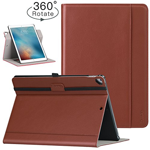(Ztotop Case for iPad Pro 12.9 inch 2017/2015 (Old Model, 1st & 2ND Gen), [360 Degree Rotating/Genuine Leather] with Auto Wake/Sleep, Pencil Holder, Document Card Slots, Multiple Viewing Angles, Brown)