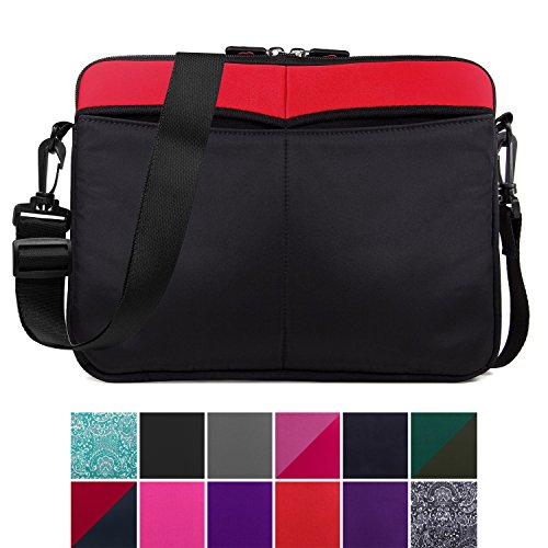 Kroo 12-13 Inch Laptop Sleeve Tablet Bag, Water Resistant Neoprene Notebook Computer Carrying Cover for MacBook, Microsoft Surface, Chromebook (Red)