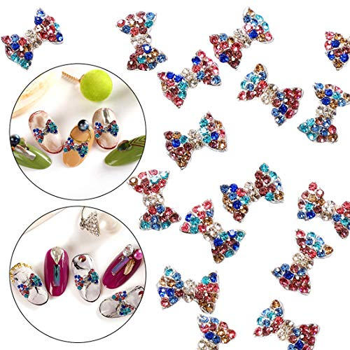 30pcs 3D Nail Art Metal Alloy Charms Bow Tie Stud Mix Colors Crystal Rhinestone Sticker Decal Diamond Gems Stones Beauty Design Decoration Pendant Crafts DIY by GADGETS ENTREPOT ()