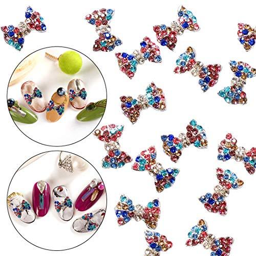 - 30pcs 3D Nail Art Metal Alloy Charms Bow Tie Stud Mix Colors Crystal Rhinestone Sticker Decal Diamond Gems Stones Beauty Design Decoration Pendant Crafts DIY by GADGETS ENTREPOT