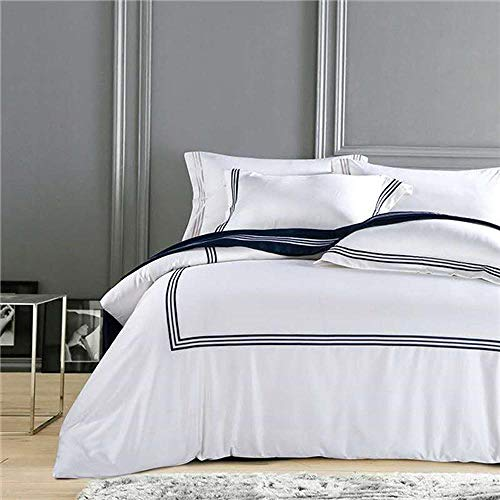 Pure White Luxury Hotel Bedding Sets King Queen Size Silver Gold Embroidery Duvet Cover Cotton Bed Sheet Linen Set Pillow Cover Color 3 King Size 4pcs