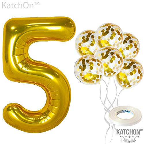 KatchOn Number 5 and Gold Confetti Balloons - Large, 40 Inch Foiil Gold Balloons | 5 Gold Confetti Balloons, 12 Inch | 5th Birthday Party Decorations | Party Supplies for Anniversary Décor