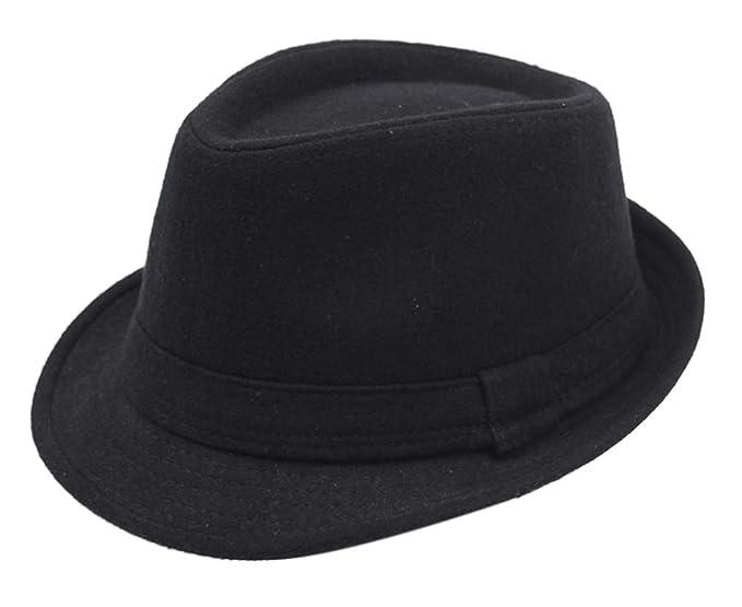 WmcyWell Men s Classic Manhattan Short Brim Wool Felt Trilby Fedora Hat  with Band Black efcf57aea8d
