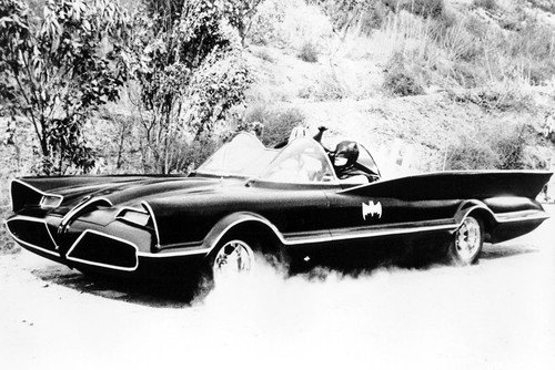 Adam West Batman Full Pose of Classic Batmobile Vintage Car 24x36 Poster at Gotham City Store