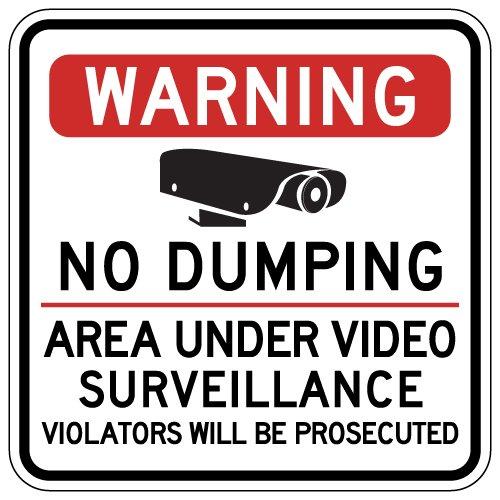 STOPSignsAndMore - Warning No Dumping Area Under Video Surveillance Sign - 30x30 by STOPSignsAndMore