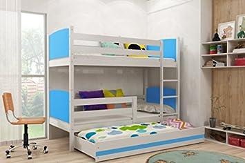 Tami de los niños litera con extraíble nido, blanco madera camas para niños + libre