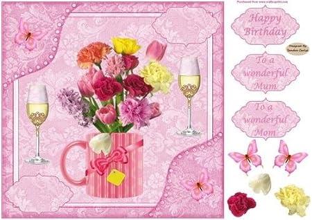 8 x 8ins rosa flores madre Tarjeta de cumpleaños Decoupage ...