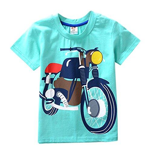 Jchen(TM Boys Cartoon Motorcycle Print Tops Summer Toddler Kids Baby Boys Girls Short Sleeve Tee T-Shirt Blouse for 2-8 T (Age: 3 - Blend Motorcycle