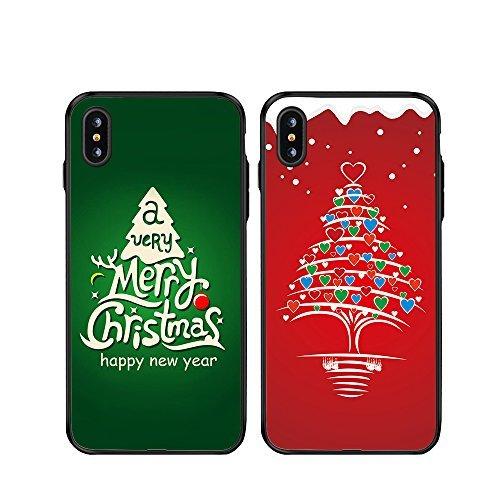 iPhone X Par casos de Navidad, ttott 2x Regalo de Navidad Floral Nueva Moda Rojo Y Verde Árbol de Navidad Slim Matching...