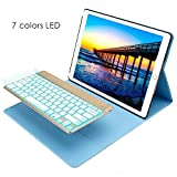 2015 iPad Pro 12.9 Keyboard + Leather case ,KIWETASO 12.9 inch Backlit Bluetooth Keyboard Folio Smart Case with Stand for iPad Pro 12.9 1st Generation(blue) (sky blue)