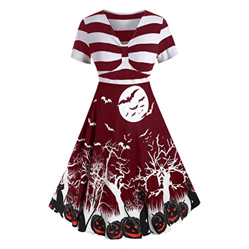 FEDULK Womens Retro Halloween Dress Short Sleeve V Neck Knotted Striped Slouchy Pumpkin Print A-line Dress(Wine, ()