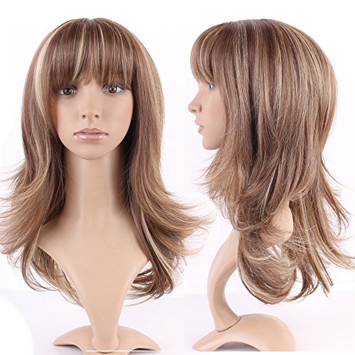 "Short Fluffy Curly Straight Full Wigs Women Brown Blonde Cosplay Party Dress Synthetic Hair ft-s (Long Wig, Light Brown Blonde Mix-layer wavy-15"")"