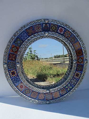 Round PUNCHED TIN MIRROR, Mexican talavera tile, hacienda style -