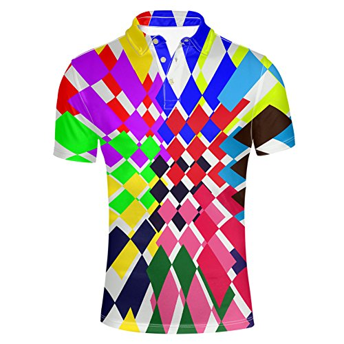 HUGS IDEA Multicolor Check Men's Short Sleeve Jersey Polos T-Shirt Tees Slim Fit Button Down Shirts Summer Fashion Tees ()