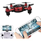Cinhent Quadcopter S18 Foldable HD 360 Degree Camera Drone RC Mini Wifi Pocket Remote Controlled Helicopter 2.4 4CH 6-Axis Gyro 3D UFO FPV Toys (Red)