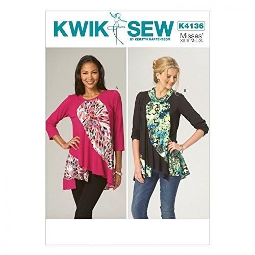 Contrast Diagonal Panel - Kwik Sew Ladies Easy Sewing Pattern 4136 Diagonal Contrast Panel Tops