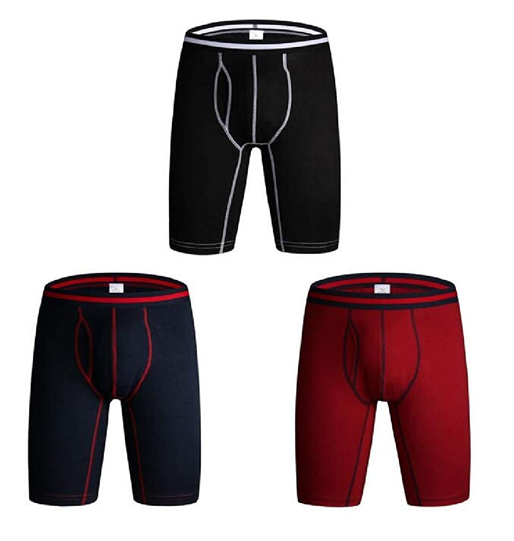 BYWX Men Stretchy Compression Workout Underwear Long Leg Boxer Briefs