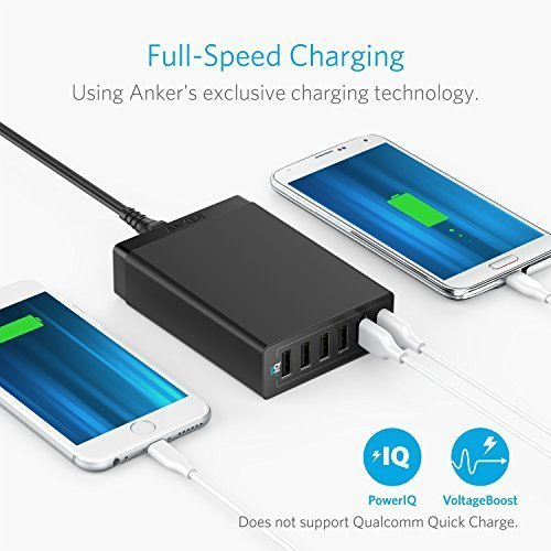 Anker 60W 6-Port USB Wall Charger, PowerPort 6 for iPhone XS/X / 8/7 / 6s / Plus, iPad Pro/Air 2 / Mini/iPod, Galaxy S7 / S6 / Edge/Plus, Note 5/4, LG, Nexus, HTC and More
