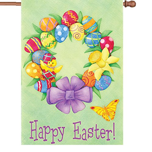 (Premier 52028 House Brilliance Flag, Happy Easter Wreath, 28 by)