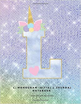L: Monogram Initial L Journal Notebook For Unicorn Believers por Ashley Yeo