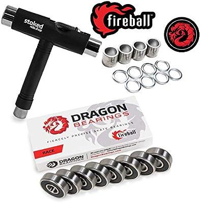 Fireball Dragon Precision Bearings for Skateboards /& Inline Skates ENDURE 8-Pack