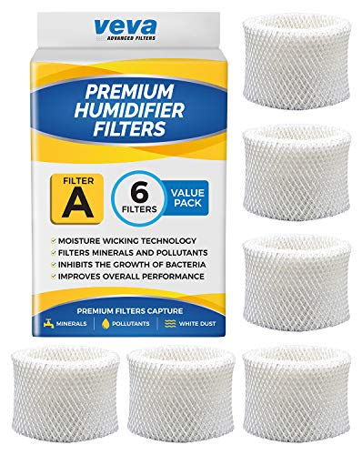 VEVA 6 Pack Premium Humidifier Filters Replacement for Honeywell Filter A, HAC-504, HAC-504AW, HCM 350 and Other Cool Mist Models