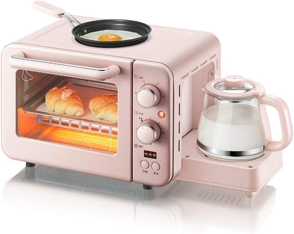 NBVCX Life Accessories Toasters Breakfast Machine Retro 3 in 1 Breakfast Station Coffeemaker Griddle Toaster Oven Makes 4 Cups of Coffee 2 Slice Multi Function Toaster Oven