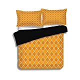 Difference Between Cal King and Eastern King iPrint Black Duvet Cover Set King Size,Quatrefoil,Clover Shape Girih Pattern Eastern Trellis Tradition Floral Oriental Arabic,Brown Yellow,Decorative 3 Pcs Bedding Set by 2 Pillow Shams