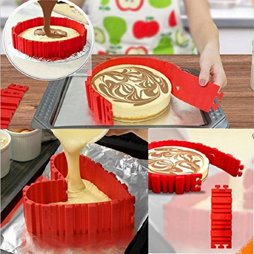 (Nonstick 4PCS Silicone Cake Mold Cake Pan Magic Bake Snake DIY Baking Mould Tools - Design Your Cakes Any Shape ,Gbell (Red))